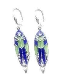 'Plique a Jour' Art Deco Earrings